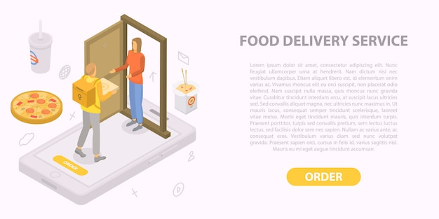 Banner de concepto de servicio de entrega de comida, estilo isométrico
