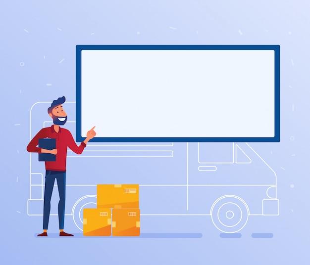 Banner de concepto de servicio de entrega de logística.