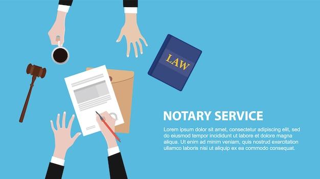 Banner de concepto de servicio notarial con equipo legal discutir