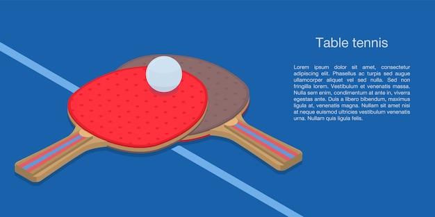 Banner de concepto de tenis de mesa, estilo isométrico.