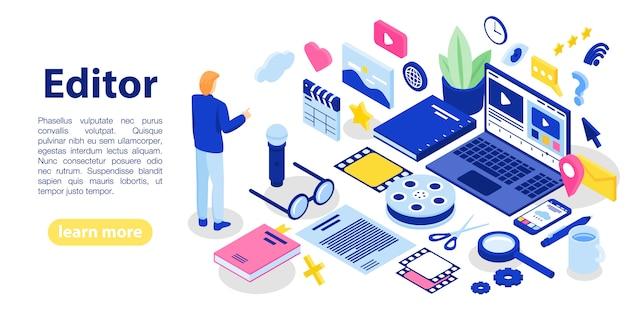 Banner de concepto de texto de editor, estilo isométrico