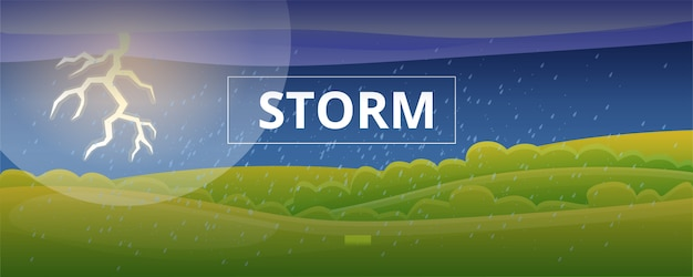 Banner de concepto de tormenta, estilo de dibujos animados