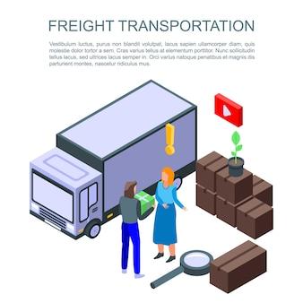 Banner de concepto de transporte de carga