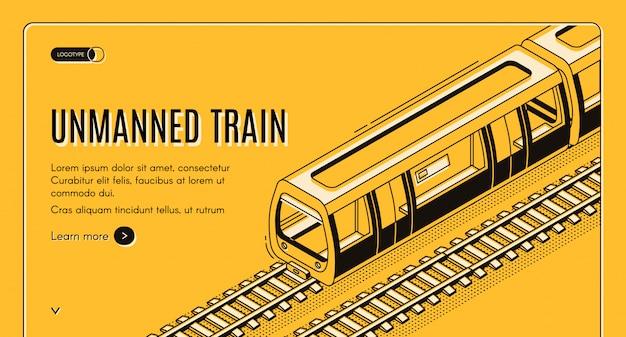 Banner de concepto con tren eléctrico no tripulado