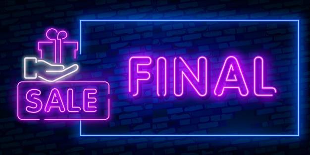 Banner de concepto de venta final en estilo de neón de moda
