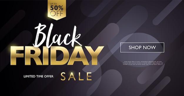 Banner de concepto de venta de viernes negro con letras doradas sobre fondo negro de elemento de forma redonda degradado