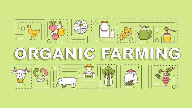 Banner de conceptos de palabra de agricultura ecológica