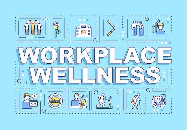 Banner de conceptos de palabra bienestar en el lugar de trabajo
