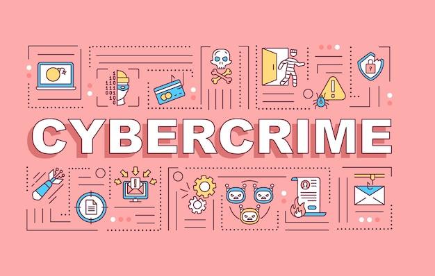 Banner de conceptos de palabra de ciberdelincuencia