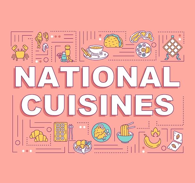 Banner de conceptos de palabra de cocinas nacionales