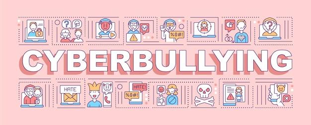 Banner de conceptos de palabra cyberbullying