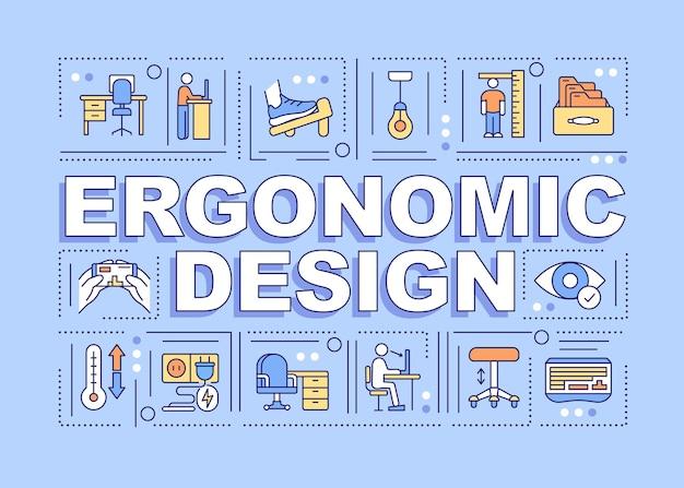 Banner de conceptos de palabra de diseño ergonómico