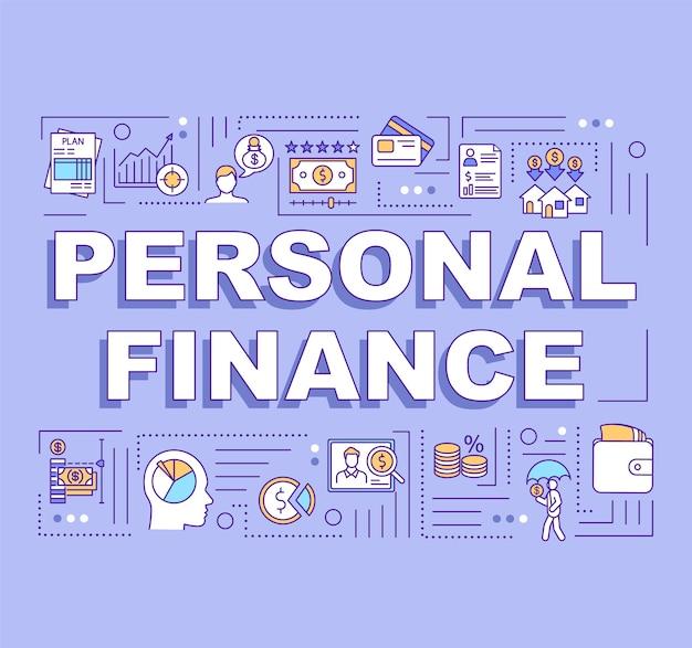 Banner de conceptos de palabra de finanzas personales
