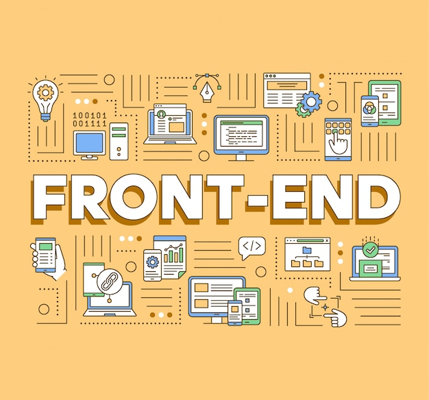 Banner de conceptos de palabra front-end. programación de aplicaciones web