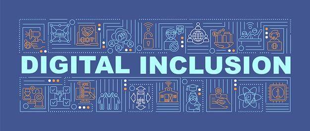 Banner de conceptos de palabra de inclusión digital