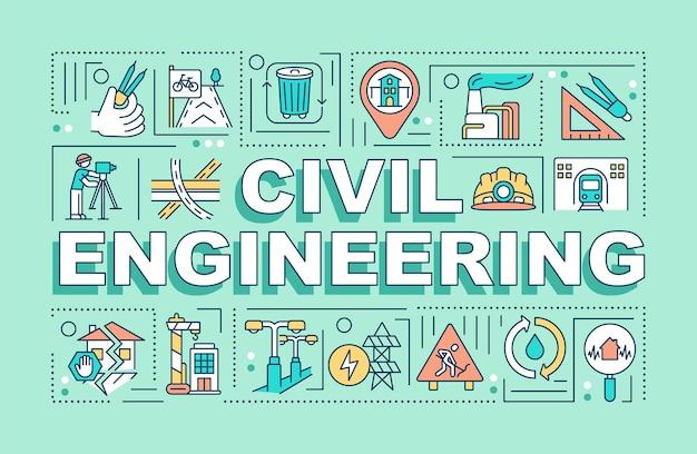 Banner de conceptos de palabra de ingeniería civil
