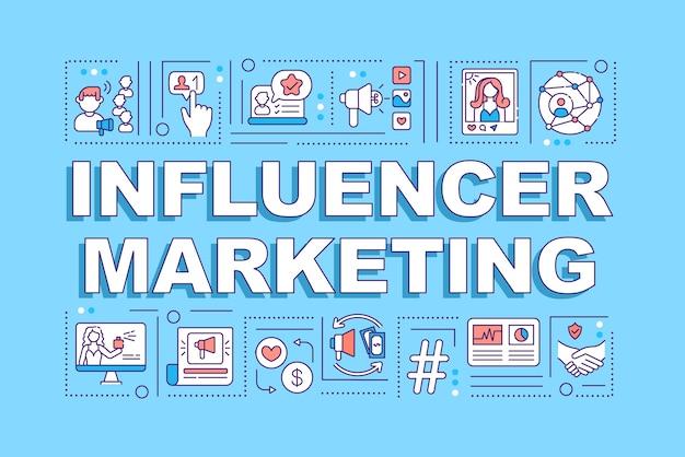 Banner de conceptos de palabra de marketing de influencers