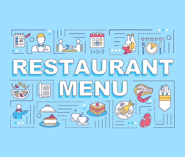 Banner de conceptos de palabra de menú de restaurante