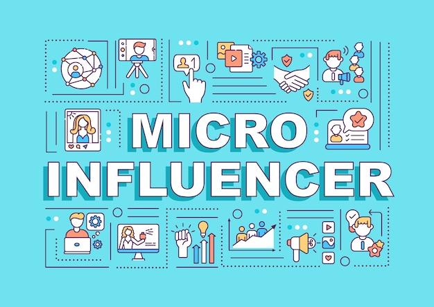 Banner de conceptos de palabra de micro influenciadores
