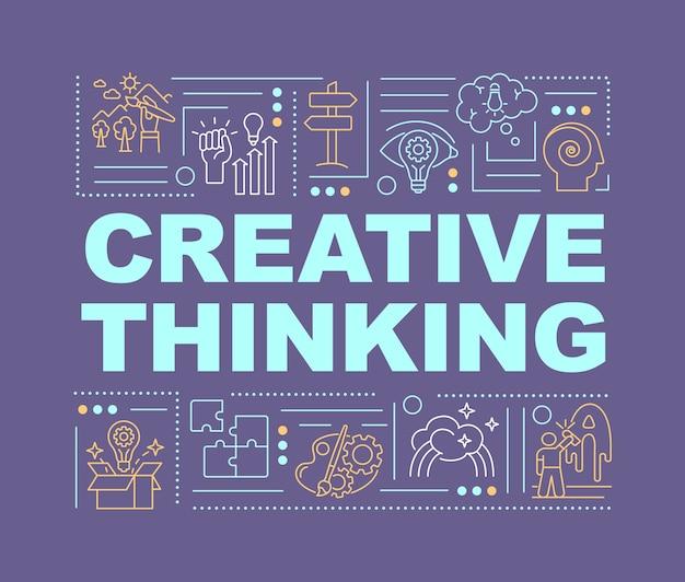 Banner de conceptos de palabra de pensamiento creativo