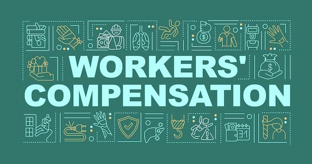 Banner de conceptos de palabra de programa de compensación de trabajadores.