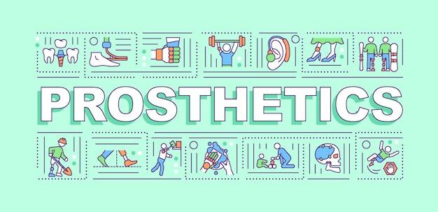 Banner de conceptos de palabra de prótesis. tratar con discapacidades de partes del cuerpo de personas. infografía con iconos lineales. tipografía aislada.