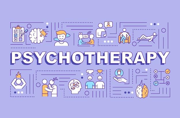 Banner de conceptos de palabra de psicoterapia