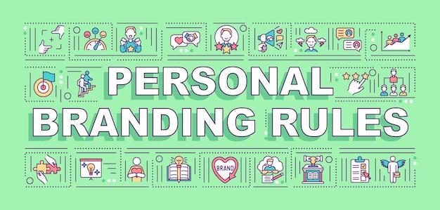 Banner de conceptos de palabra de reglas de marca personal