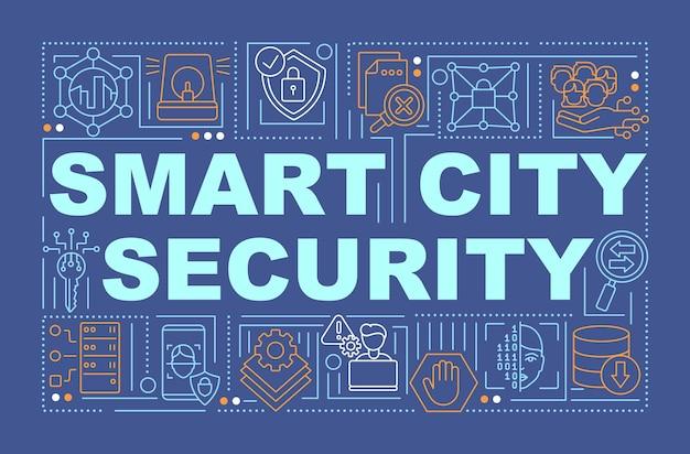 Banner de conceptos de palabra de seguridad cibernética de ciudad inteligente