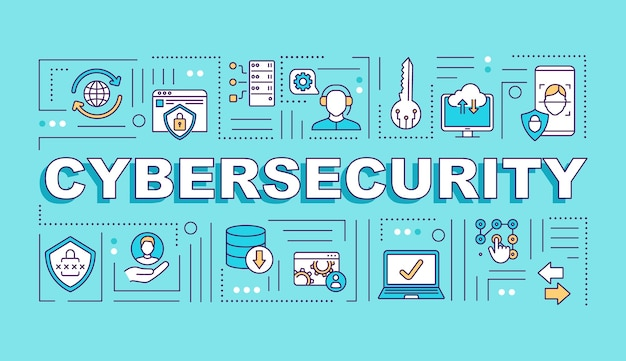 Banner de conceptos de palabra de sistema de seguridad cibernética