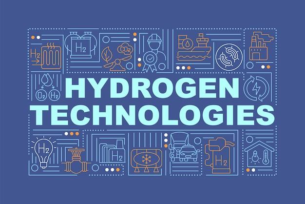 Banner de conceptos de palabra de tecnologías de hidrógeno. uso de energía verde. infografía con iconos lineales sobre fondo azul marino. tipografía creativa aislada. ilustración de color de contorno vectorial con texto