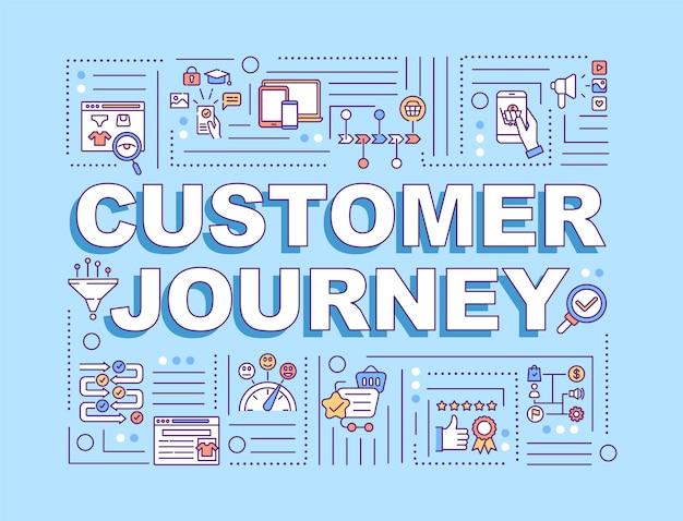 Banner de conceptos de palabra de viaje del cliente