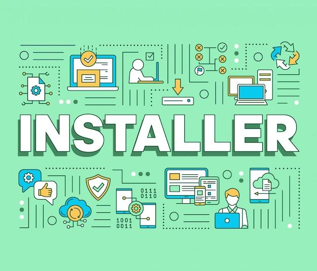 Banner de conceptos de palabras de instalador. instalación, mantenimiento y eliminación de software.