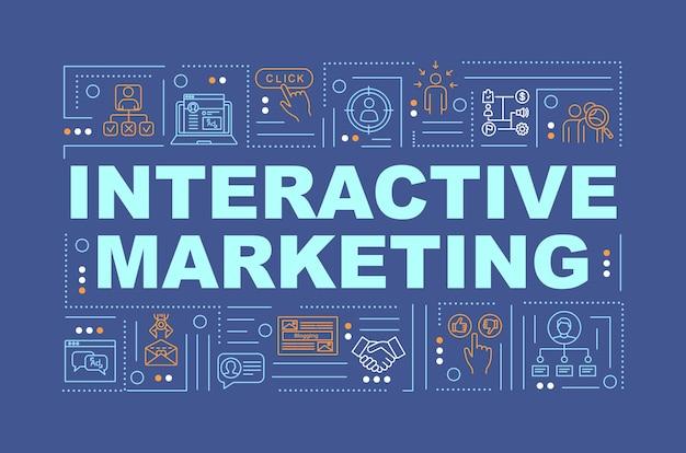 Banner de conceptos de palabras de marketing interactivo y generación de leads. atracción de visitantes. infografía con iconos lineales sobre fondo turquesa. tipografía aislada. ilustración de color rgb de contorno vectorial