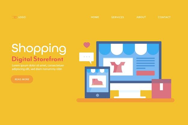Banner conceptual de compras digitales