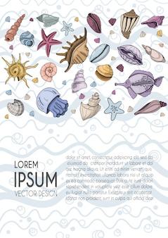 Banner con conchas marinas, peces, medusas