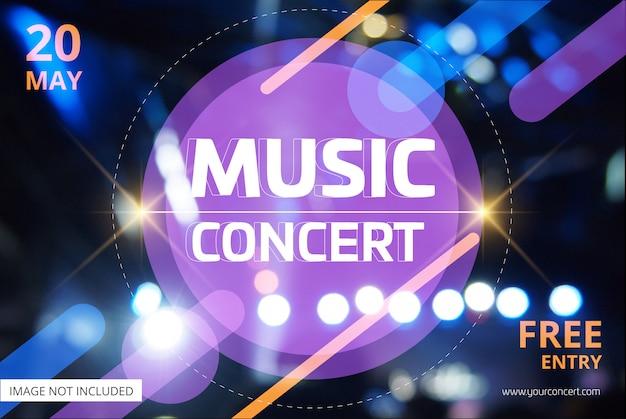 Banner de concierto de música con escenario de luz