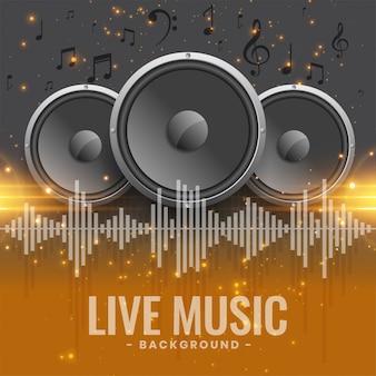 Banner de concierto de música en vivo con parlantes.