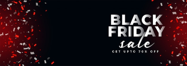 Banner de confeti de venta de viernes negro con espacio de texto