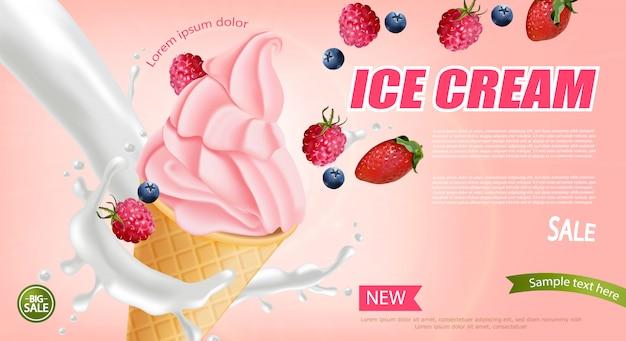 Banner de cono de helado de fresa