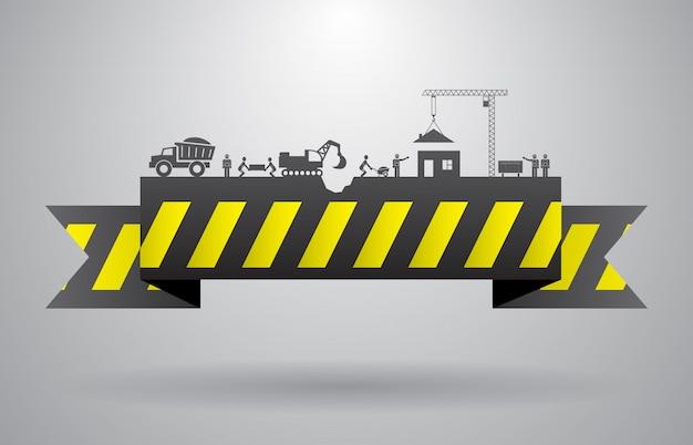 Banner de construcción amarillo para infografía título