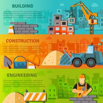 Banner de construcción plana conjunto