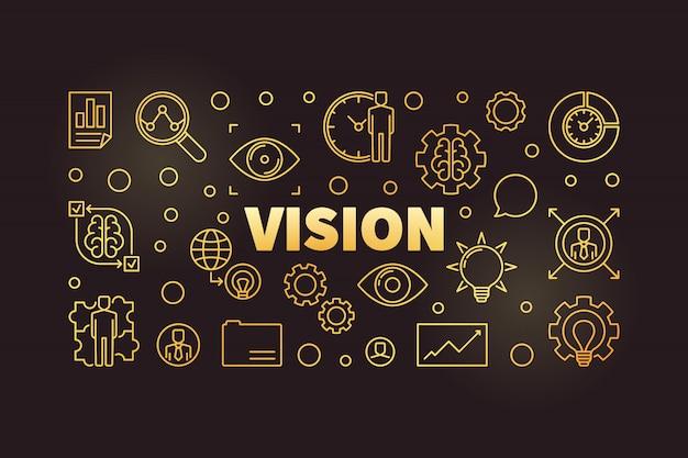 Banner de contorno dorado horizontal de visión