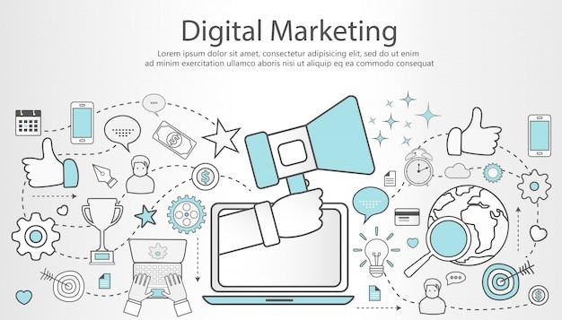 Banner de contorno de marketing digital