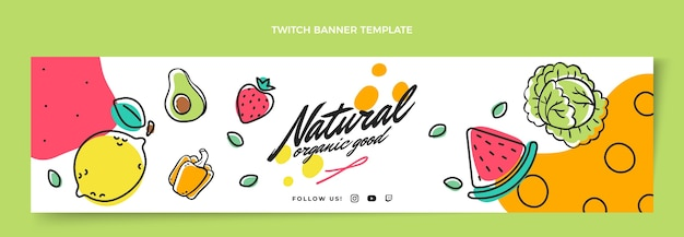 Banner de contracción de alimentos naturales dibujados a mano