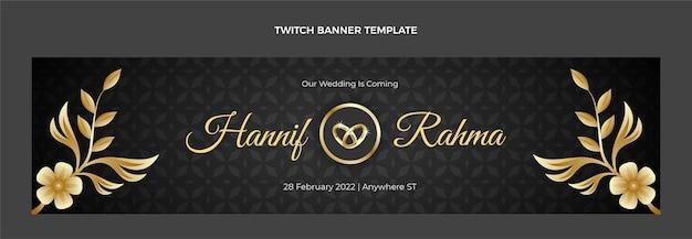 Banner de contracción de boda dorada de lujo realista