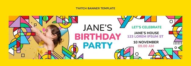 Banner de contracción de cumpleaños de mosaico plano