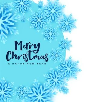 Banner de copos de nieve de feliz navidad en color azul y blanco