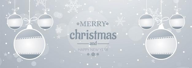 Banner de copos de nieve de feliz navidad