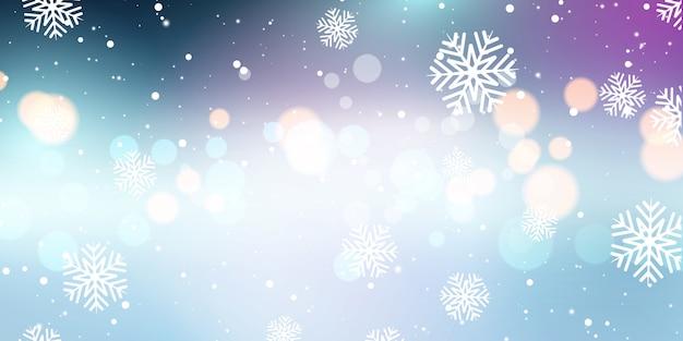 Banner de copos de nieve de navidad y luces bokeh
